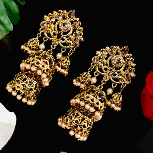 Jhumka Oxidized Earrings in Gold Tone (Design 1)