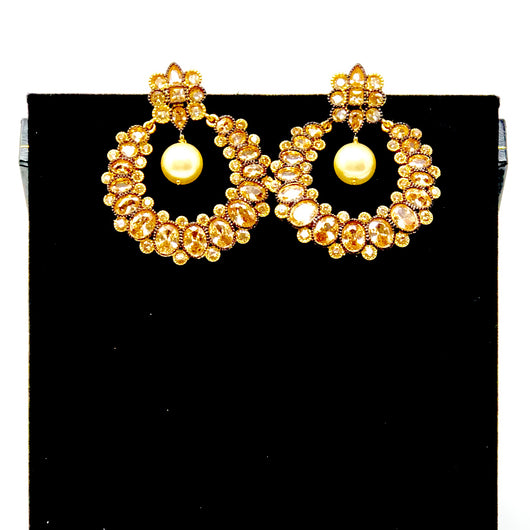 Hoop Bejweled Peach Earring with Pearl