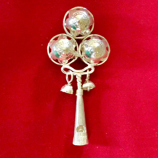 Pure Silver Baby Rattle with Whistle (Design 2)