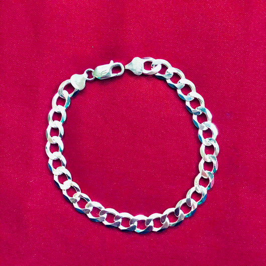 925 Mens Chain Silver Bracelet  - 9 Inches  (Design 13)