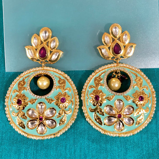 GOLD PLATED KUNDAN PREMIUM EARRINGS  (Design 28)