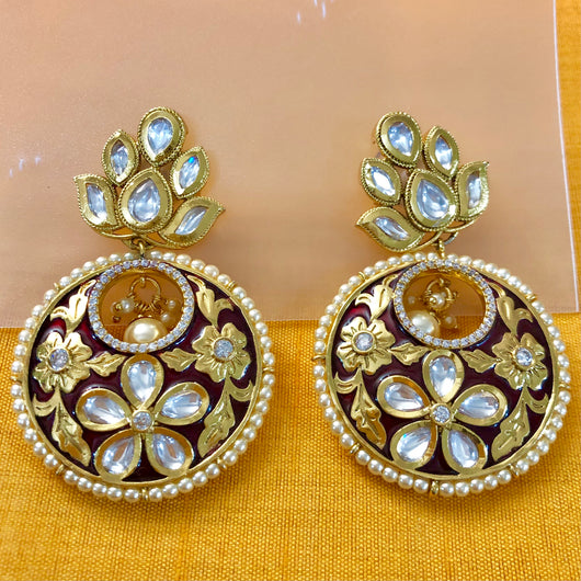 Gold Plated Kundan Earrings (Design 24)