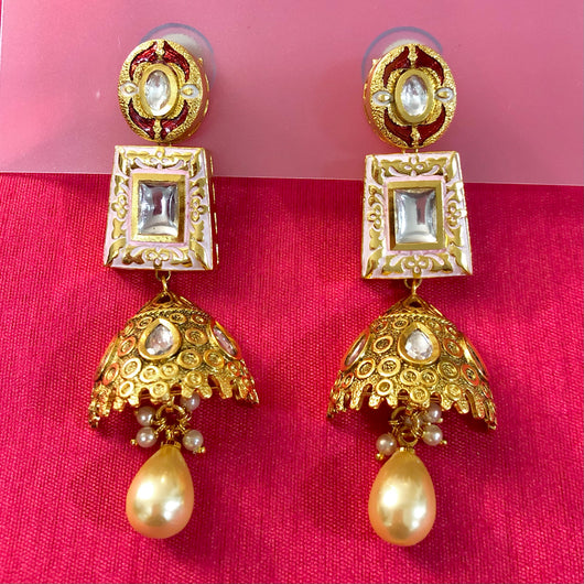 Gold Plated Kundan Earrings (Design 11)