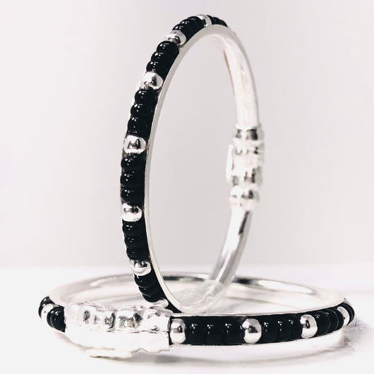 Unisex Black beaded Silver Baby Bangle Set (Design 3)