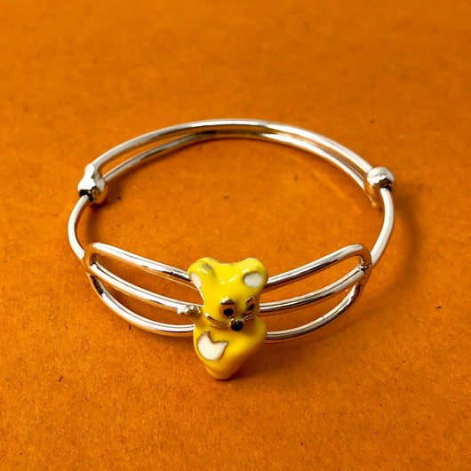 Unisex Adjustable Silver Baby Bangle (Design 24)