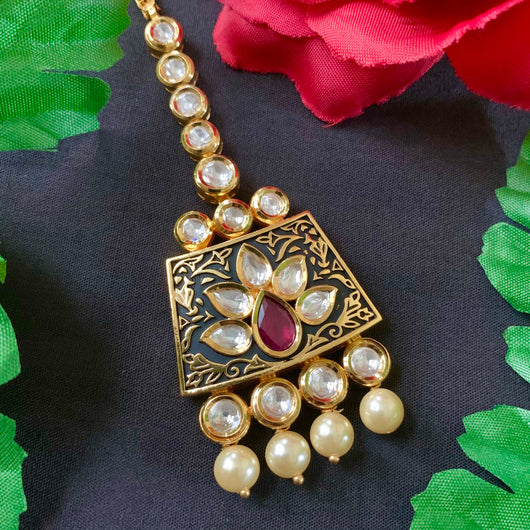 Black Color Kundan Gold Plated Maang Tika (D12)
