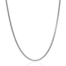 925 Sterling Silver, Round Box Link, Heavy-Duty Necklace Chain (Design 6)