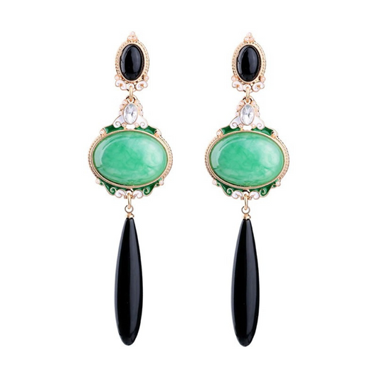 Long Dangle Parrot Green and Black Earrings