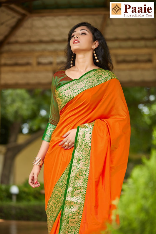 Simple Orange and Green Saree