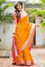 Designer Soft Silk Canary Yellow and Pink Saree with Rich Pallu