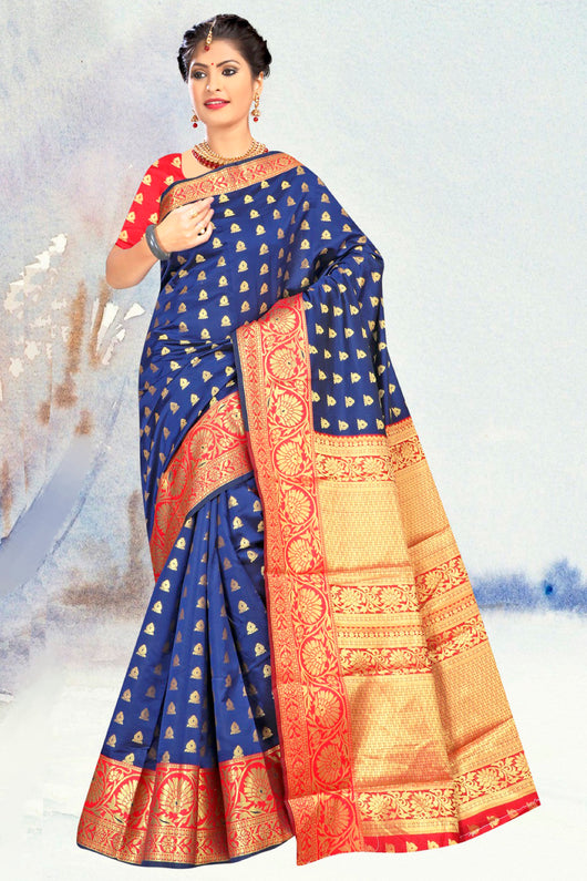 Blue and Red Saree with Golden Designs