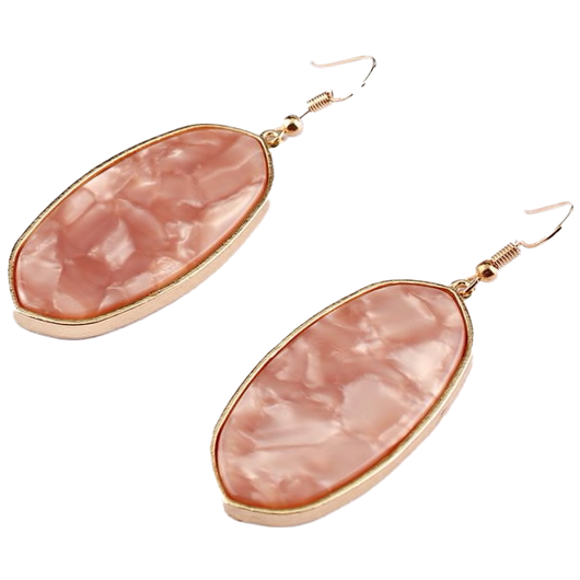 Natural Stone Pink Oval Earring