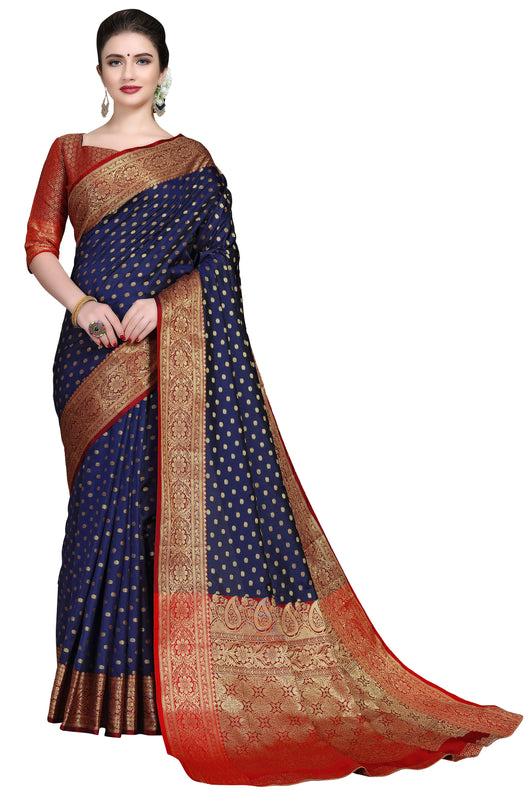 Navy and Red Colored Designer Saree