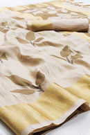 Silk Designer Hazel Wood and Golden Zari Border