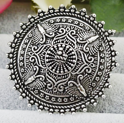 Adjustable German Silver Oxidized Ring with Intricate Designs