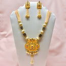 Ethnic Designer Long Kundan Necklace Set With Semi Precious Beads