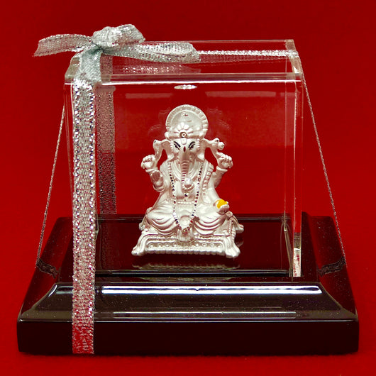 999 Pure Silver Ganesha Idol with a Ladoo