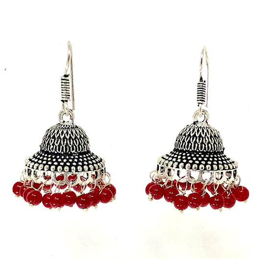 German Silver Jhumki with Red beads
