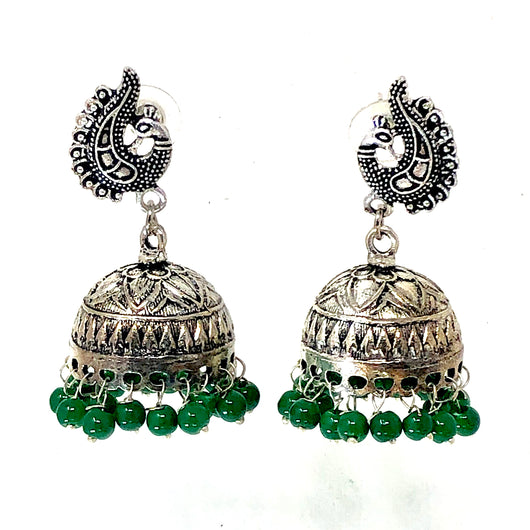 Floral Design Jhumki with Studs and Green Beads