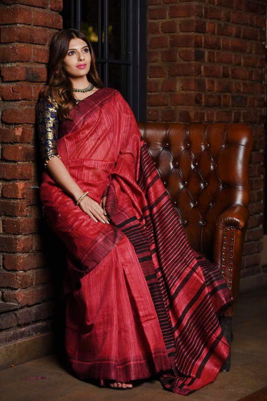 Silk Mark Certified Pure Handloom Tussar Ghicha Silk Saree In Red And Black Color