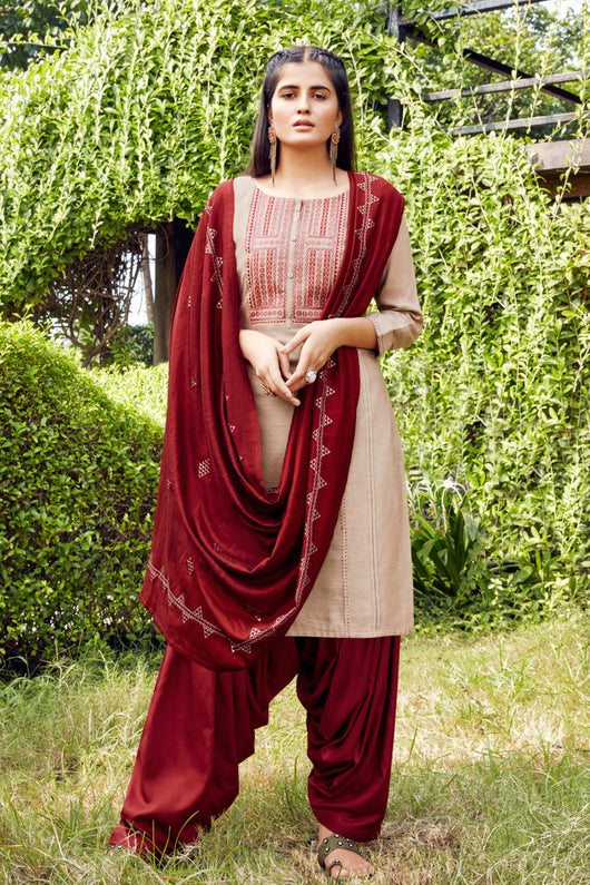Silk Cotton Suit With Patiala Salwar and Fancy Dupatta (125)