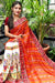 Designer Pure Georgette Saree in Kacchi Gamthi Embroidery Work (Red/White)