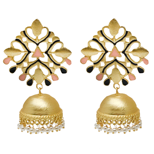 Rhombus Golden Pink and Black Jhumki
