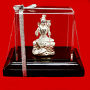 999 Pure Silver Shiva sitting on the Rock Idol in Rectangular Base