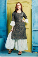 Cotton Kurti with Sharara and matching Mask (D43)