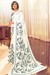 White, Black and Sage-Gray Green Crepe Saree