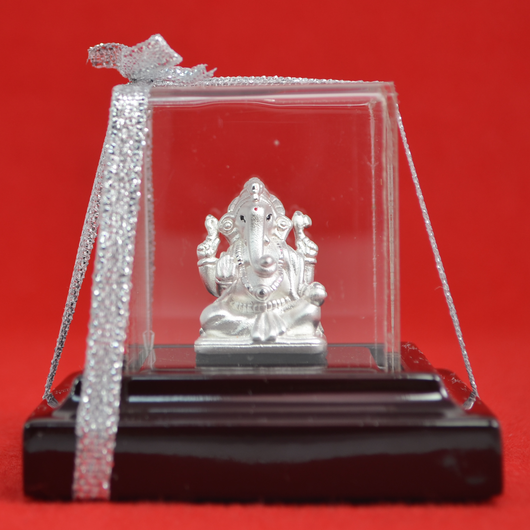 999 Pure Silver Ganesha Idol in Square Base