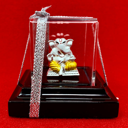 999 Pure Silver Small Square Yellow Ganesha Idol