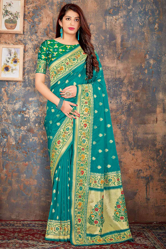 Banarasi Silk Designer Teal Blue and Golden Saree