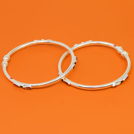 Simple Unisex Silver Baby Bangle Set (Design 8)