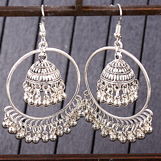 Silver Hoops with Small Bells