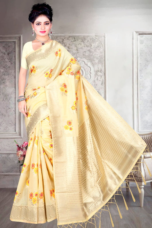 Designer Yellow and Colorful Chanderi Silk Saree