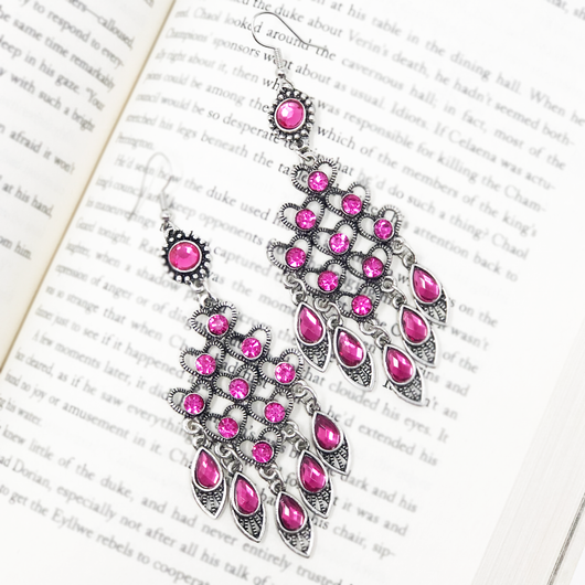 Vintage Geometric Pink Earrings