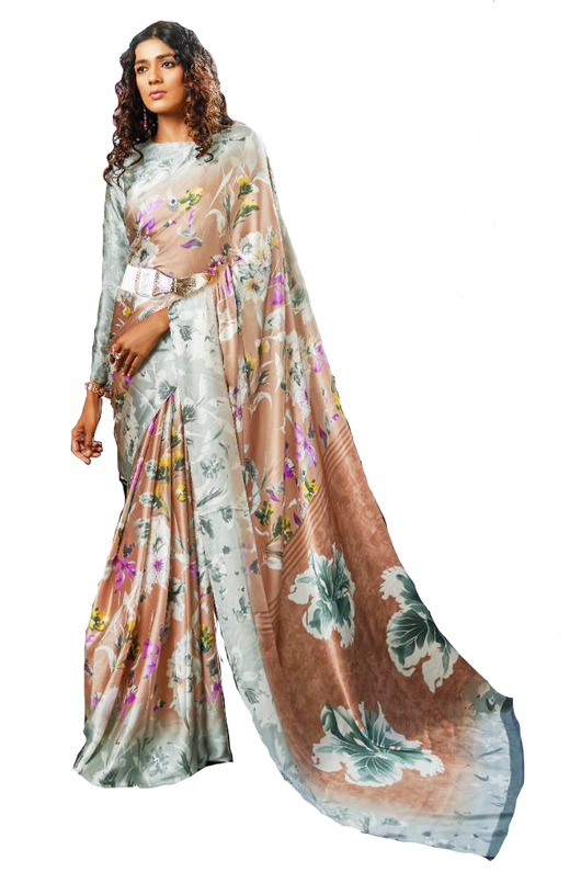 Light Brown and Sapphire Blue Floral Crepe Saree