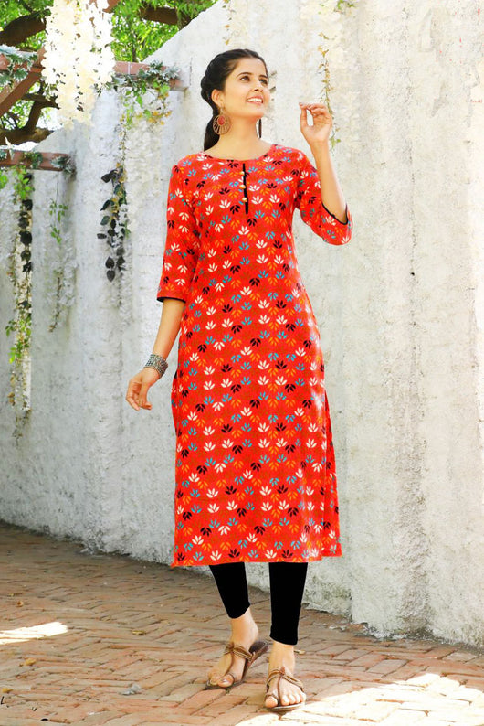 Cotton Kurti in Red Color (D16)