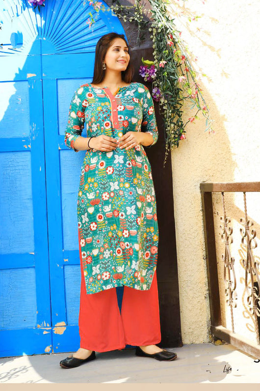COTTON KURTI IN GREEN MULTI COLOR (D23)