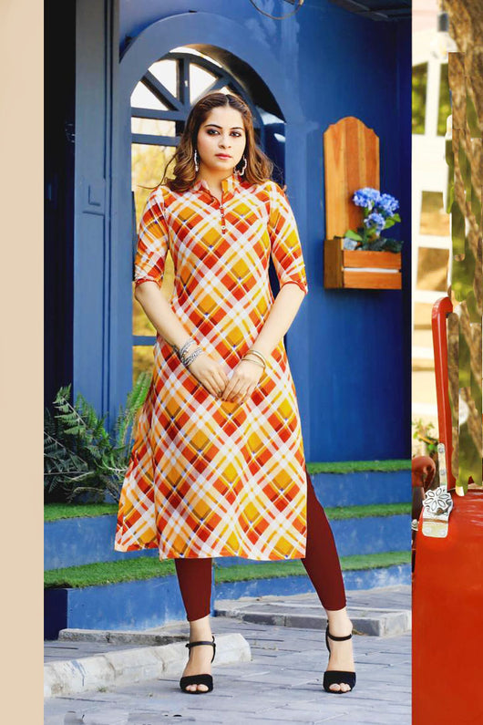 COTTON KURTI IN Red  And Yellow COLOR (D19)
