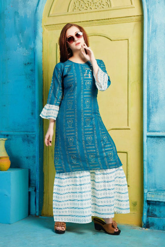 Cotton Kurti with Sharara and matching Mask (D39)