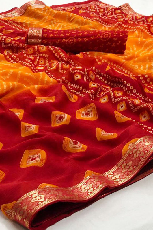 Designer Chiffon Bandhej Red And Yellow With Gotta Patti Saree