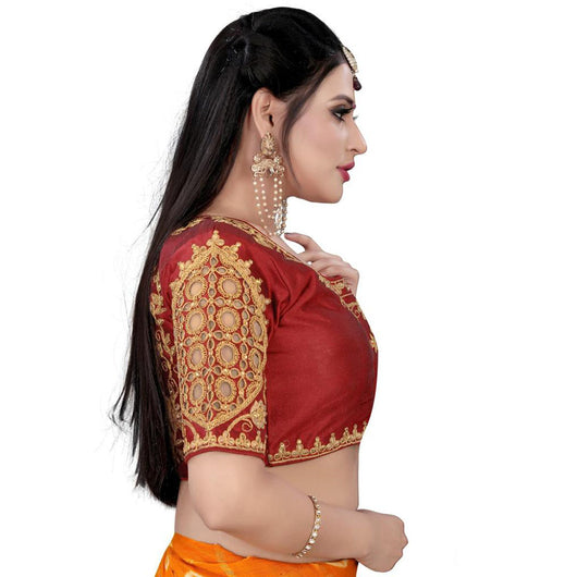 Women's Silk Half-Sleeve Readymade Blouse (Mehroon)