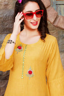 Cotton Kurti with Pant and Matching Mask (D67)