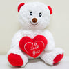 Plush White Teddy Bear with Red Heart (11 in) - FREE WITH A PURCHASE OF $75 (CODE: VALENTINE)