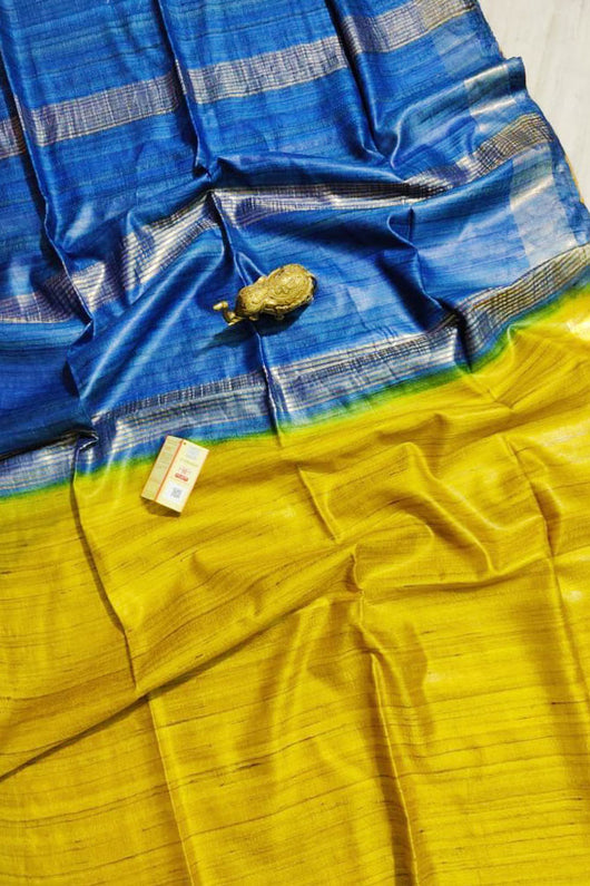 Silk Mark Certified Pure Handloom Tussar Ghicha Silk Saree In Yellow And Blue Color