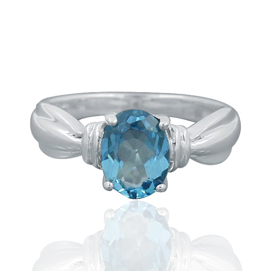925 Sterling Silver Blue Topaz Gemstone Ring (D49)