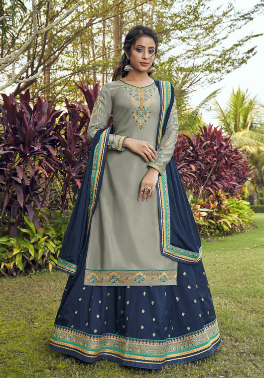 Long Suit With Lengha and Fancy Dupatta in Grey Color (K61)