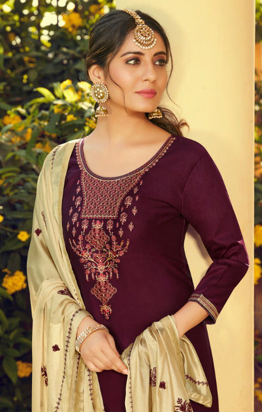 Silk Cotton Suit With Patiala Salwar and Fancy Dupatta in Mehroon (K42)